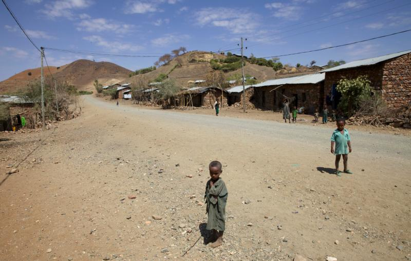 Children stand along a road in the Amhara region of  Ethiopia Feb. 12. (CNS photo/Katy Migiro, Reuters)