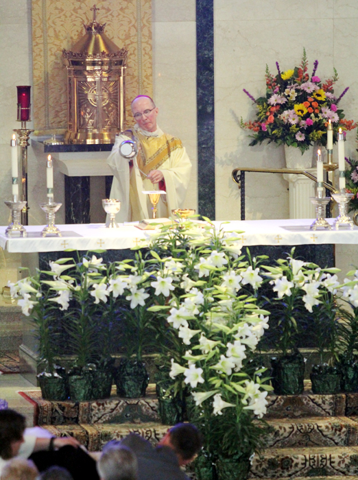 Bishop Timothy Senior returns home to North Wales to celebrate Easter Sunday mass at Saint Rose of Lima Church.