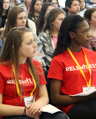 "The ""relentless"" love and mercy of God was the theme for the day, and the theme of the talk by keynoter David Calavitta, to which the teens listened intently. (Sarah Webb)"