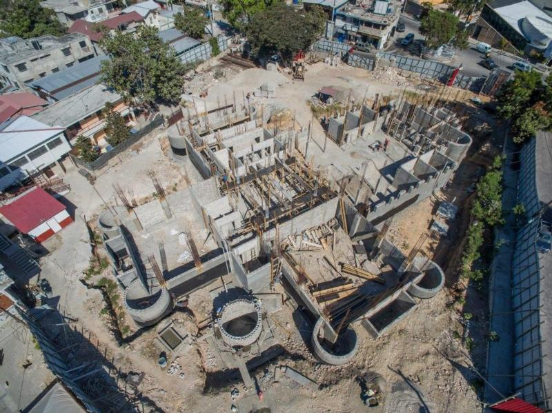 Reconstruction was continuing on Sacred Heart Church in Port-au-Prince, Haiti, in January as seen in this image from a drone. It is being built by the Partnership for the Reconstruction of the Church in Haiti with funds donated by U.S. parishioners and other donors worldwide. (CNS photo/courtesy Partnership for the Reconstruction of the Church in Haiti)