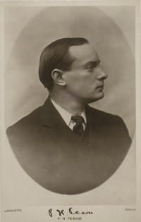 Patrick Pearse in shown in an undated photo on a visiting card from census documents of the National Archives of Ireland. The Dublin poet and educator was a leader in the Irish Easter Rising and Gaelic language revival. (CNS/National Archives of Ireland)
