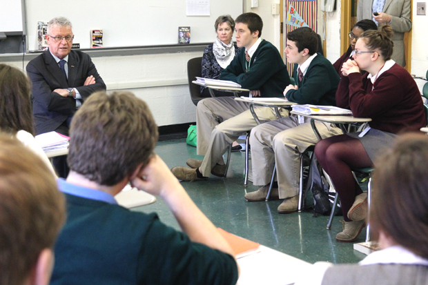 Kevin Kennedy, the United Nations' regional humanitarian coordinator for the crisis in Syria, visited Msgr. Bonner and Archbishop Prendergast High School in Drexel Hill on March 29 to address AP Government classes and the assembled student body. (Photos by Sarah Webb)