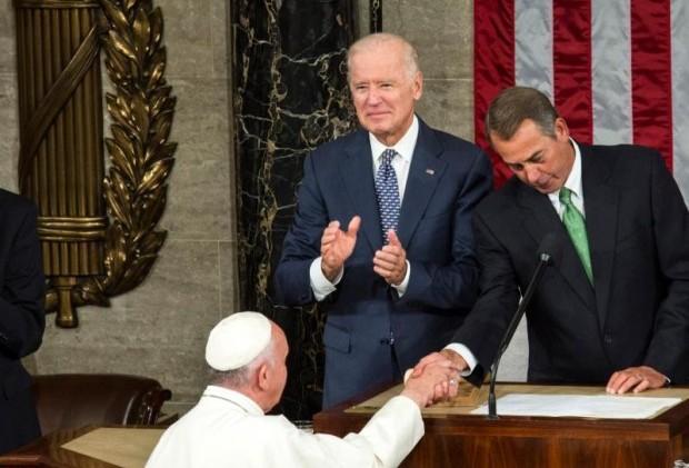 U.S. Vice President Joe Biden and then-House Speaker John Boehner greet Pope Francis in Washington in this Sept. 24, 2015, file photo. (CNS photo/Drew Angerer, EPA)
