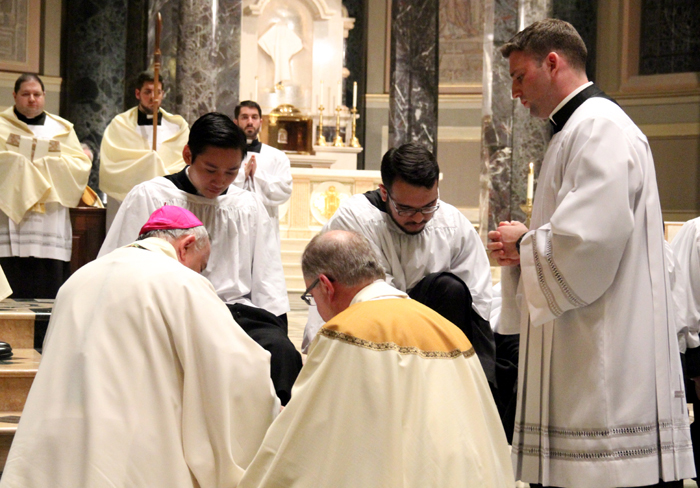 At the Mass of the Lord's Supper on Holy Thursday evening Archbishop Charles Chaput washed the feet of seminarians commemorating Christ's institution of the holy Eucharist at the Last Supper. The ritual of the washing of feet models Christ's example of humble, loving service.