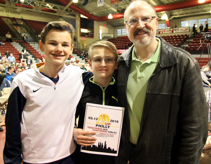 Noah and Moses Burdett traveled with their father from St Columkill Church in Boyertown to attend Man Up Philly.