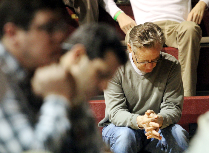 Joe Lacey from Saint Mary Magdelean Parish in Media prays during Mass.