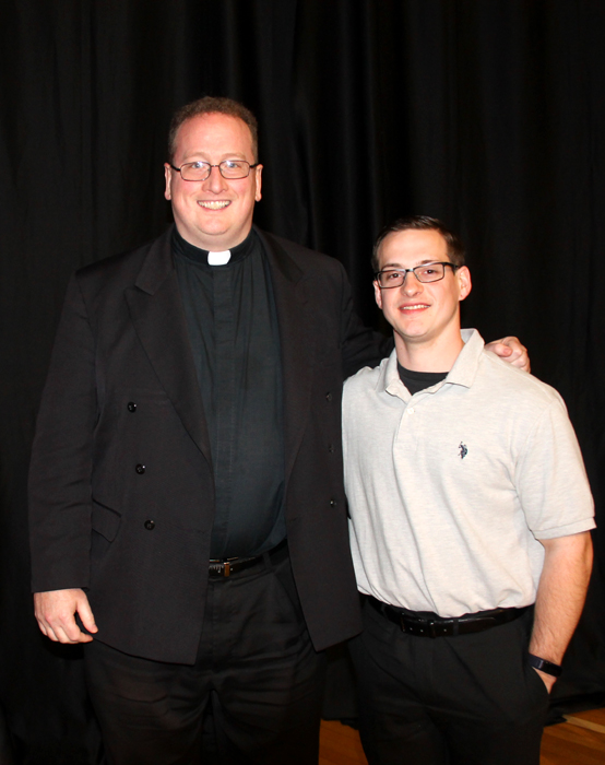 Father Stephen DeLacy and seminarian Max McGallagher who spoke on his vocation at Man Up Philly.