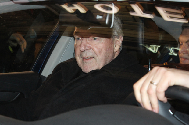 Australian Cardinal George Pell, prefect of the Vatican Secretariat for the Economy, is seen leaving the Quirinale Hotel in a car after testifying before Australia's Royal Commission Into Institutional Response to Child Sexual Abuse by video link from Rome March 1. (CNS photo/Lloyed Jones,  EPA via Australia and New Zealand handout)