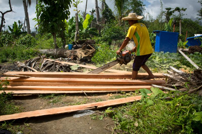 A man in Tanauan, Philippines, saws a coconut tree into construction beams in this Feb. 6, 2014, file photo. (CNS photo/Tyler Orsburn)