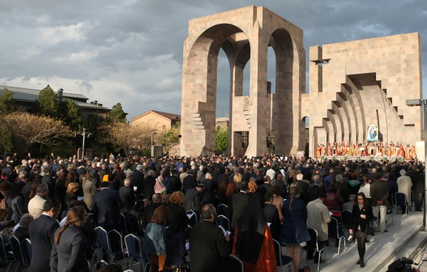 People attend a canonization ceremony for the victims of the Armenian Genocide at the Mother See of Holy Etchmiadzin complex near Yerevan, Armenia, in this April 23, 2015, file photo. The Vatican is studying the possibility of Pope Francis visiting Armenia in late June, the Vatican spokesman said. (CNS photo/Vahram Baghdasaryan, EPA)