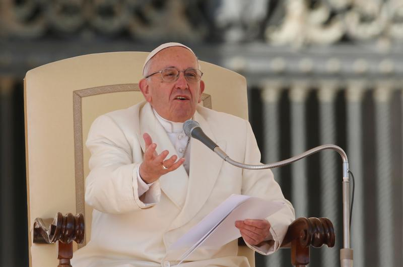 Pope Francis speaks during his general audience in St. Peter's Square at the Vatican March 2. (CNS photo/Paul Haring)