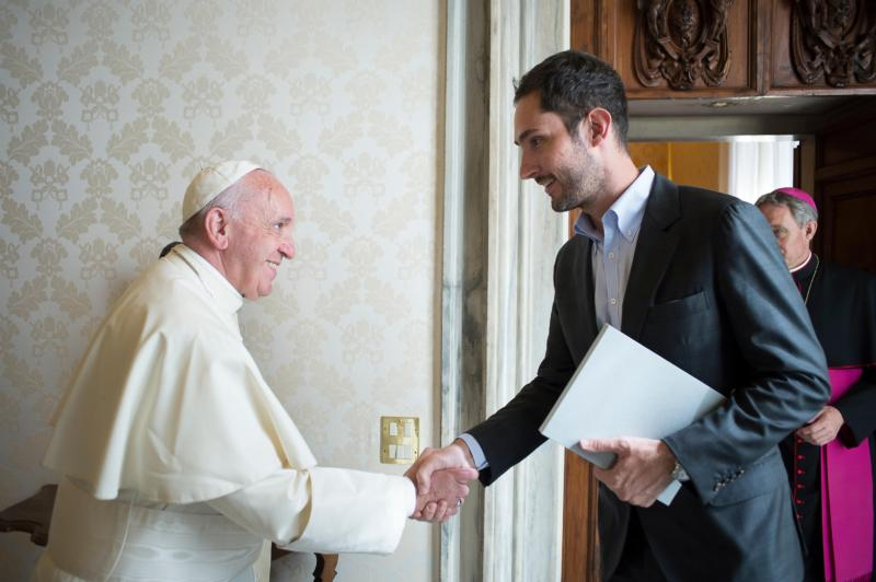 Pope Francis meets Kevin Systrom, co-founder and CEO of Instagram, during a private audience at the Vatican Feb. 26. (CNS photo/L'Osservatore Romano)