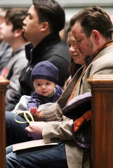 Six month old Augustine Phillips attended his first Palm Sunday Mass with his parents Laura and Ashton whos home parish is Old Saint Joseph.