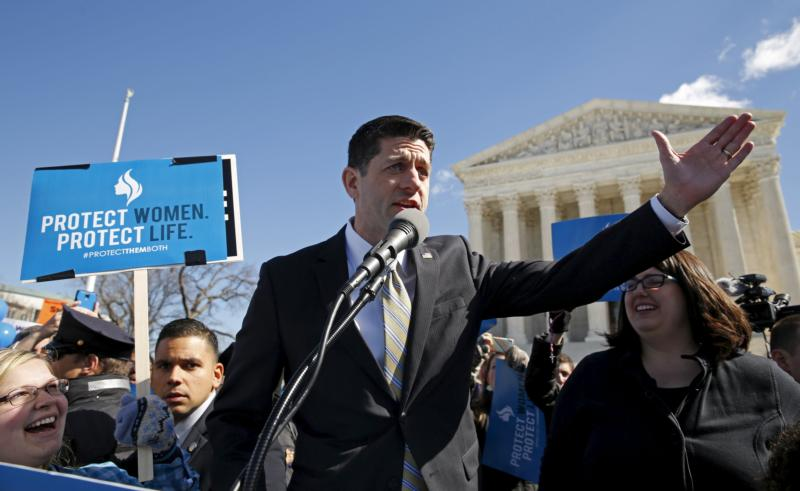 "U.S. House Speaker Paul Ryan, R-Wis., speaks to pro-life demonstrators outside the U.S. Supreme Court in Washington March 2, ""We are the pro-life generation,"" he said to cheers. ""We are here to stand up for the rule of law."" (CNS photo/Kevin Lamarque, Reuters)"