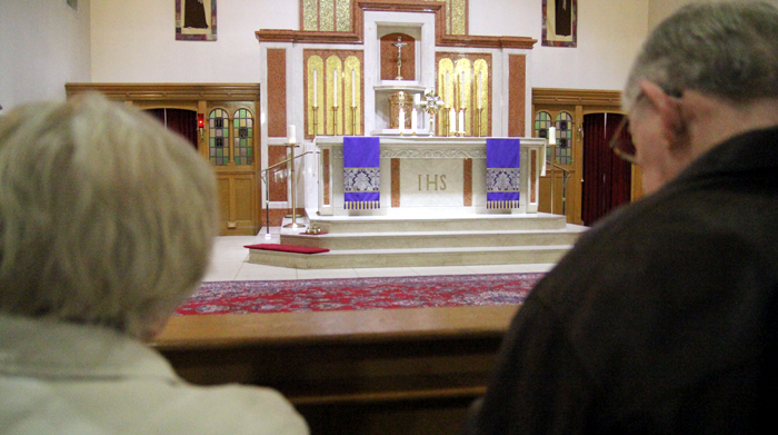 The Blessed Sacrament is exposed on the main altar of St. Francis of Assisi Church in Springfield, Delaware County. (Sarah Webb)