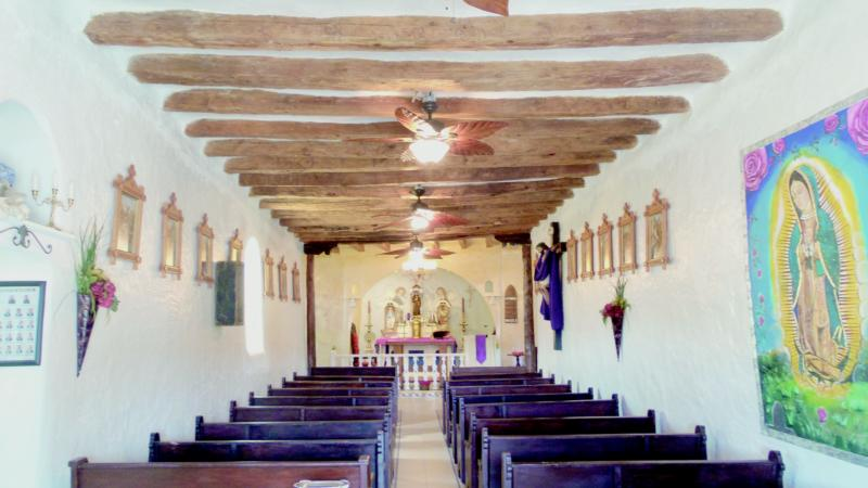 The wooden ceiling beams called vigas are seen March 5 in the rustic San Francisco de Asis Church in Golden, N.M. As a restoration of the church's beams was underway, a 200-year-old painting was stolen from the church. (CNS photo/Zita Fletcher)