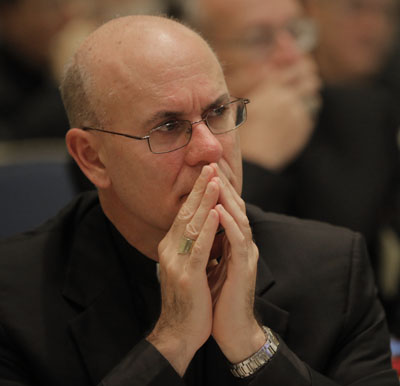 Bishop Kevin C. Rhoades of Fort Wayne-South Bend, Ind., listens to speakers Nov. 16 during the opening of the 2015 fall general assembly of the U.S. Conference of Catholic Bishops in Baltimore. (CNS photo/Bob Roller) See BISHOPS- Nov. 16, 2015.