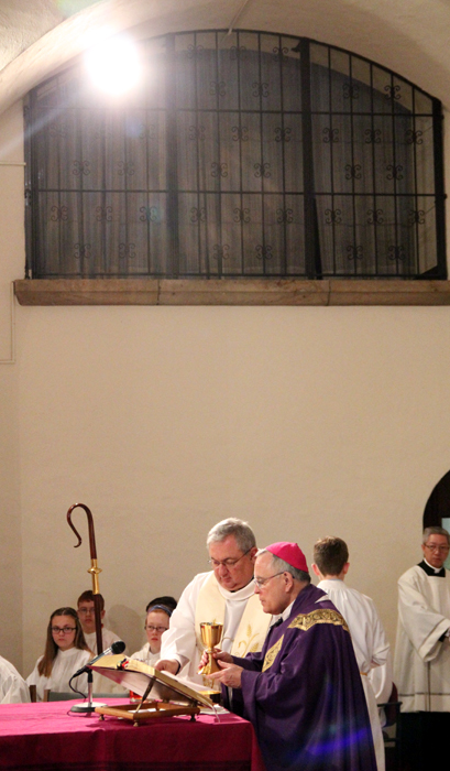 Father Wayne Paysse (awardee) and Archbisohp Charles Chaput