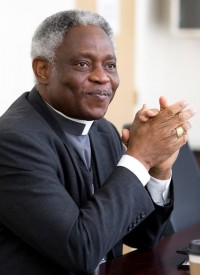 Ghanaian Cardinal Peter Turkson, president of the Pontifical Council for Justice and Peace, is seen Feb. 19 on the campus of St. Thomas University in Miami. (CNS photo/Tom Tracy)