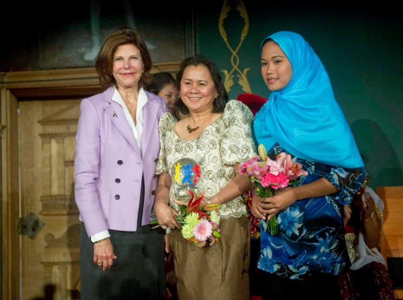 Filipino Cecilia Flores-Oebanda, center, receives the World's Children prize during a ceremony in Mariefred, Sweden, in this April 28, 2011, file photo. (CNS photo/EPA via ScanPix Sweden)