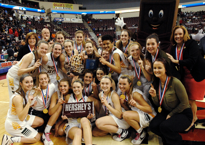 Archbishop Wood's girls and supporters celebrate the Vikings' class AAA PIAA state championship victory March 18 in Hershey, Pa.