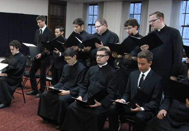 Members of the St. Charles Seminary choir rehearse in this 2015 CatholicPhilly.com file photo. (Sarah Webb)