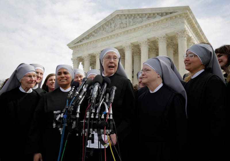 Sister Loraine Marie Maguire, mother provincial of the Denver-based Little Sisters of the Poor, speaks outside the U.S. Supreme Court in this file photo. Thr sisters are a party to the  Zubik v. Burwell contraceptive mandate case. (CNS photo/Joshua Roberts, Reuters)