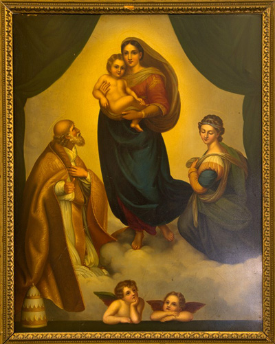 "A copy of Raphael's ""Sistine Madonna"" hangs in the Museum of the Central Association of the Miraculous Medal."