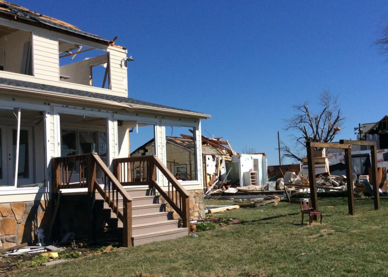 Damaged houses are seen Feb. 28 at Naylors Beach in Warsaw, Virginia. (CNS photo/Courtesy The Catholic Virginian)