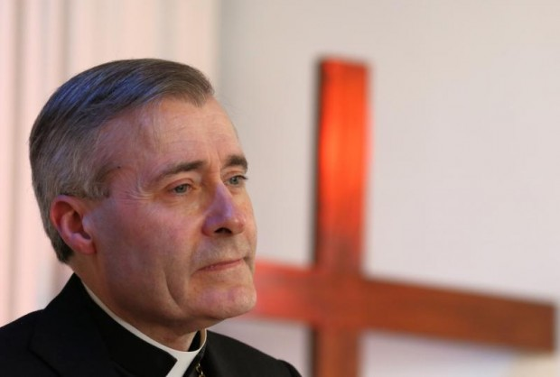 Bishop Mark Davies of Shrewsbury, England, speaks April 16 at the New Life Evangelical Church in Congleton. Bishop Davies welcomed a House of Commons motion to declare the actions of the Islamic State group as genocide. (CNS photo/Simon Caldwell)