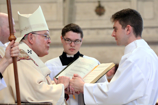 Matthew Biedrzycki is ordained a transitional deacon by Archbishop Charles Chaput in 2015. The Archbishop will ordain Rev. Mr. Biedrzycki a priest for the Philadelphia Archdiocese, along with three other men, May 21. (Photo by Sarah Webb)