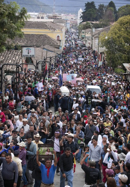 People attend the funeral of Honduran activist Berta Caceres in La Esperanza, Honduras, March 5. (CNS photo/Stringer, EPA)