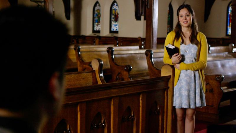 "Hayley Orrantia stars in a scene from the movie ""God's Not Dead 2.""  (CNS photo/Pure Flix)"