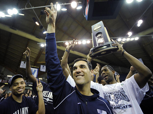 Villanova men's basketball Coach Jay Wright celebrates the last time his squad went to the Final Four of the NCAA tournament, in the 2008-2009 season.