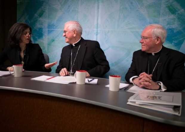 Archbishop Joseph E. Kurtz of Louisville, Ky., center, president of the U.S. Conference of Catholic Bishops, Bishop Richard J. Malone of Buffalo, N.Y., chairman of the Committee on Laity, Marriage, Family Life and Youth of the U.S. Conference of Catholic Bishops, and law professor Helen Alvare from George Mason University are seen April 8 in Washington prior to the start of a discussion about Pope Francis' apostolic exhortation on family life. (CNS photo/Tyler Orsburn)