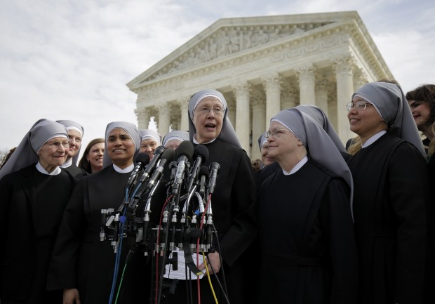 Sister Loraine Marie Maguire, mother provincial of the Denver-based Little Sisters of the Poor, speaks to the media outside the U.S. Supreme Court in Washington March 23 after attending oral arguments in the Zubik v. Burwell contraceptive mandate case. (CNS photo/Joshua Roberts, Reuters)