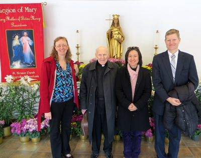 At the Acies ceremony April 10 at St. Eleanor Church, during which members of the Legion of Mary renewed their consecration to the Blessed Mother, are (from left) Edel Lukens, Father Francis Lendacky, Susie Guhm and Chris Vounas Lane.