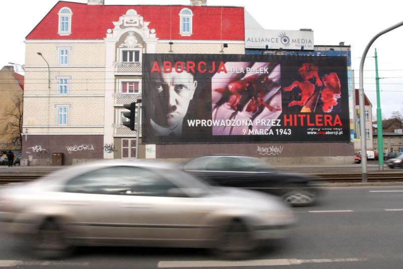 A pro-life poster is seen in 2010 on a billboard in Poznan, Poland. Poland's Catholic bishops have called for a permanent ban on abortions to mark the anniversary of their country's Christian conversion in A.D. 966. (CNS photo/Adam Ciereszko, EPA)
