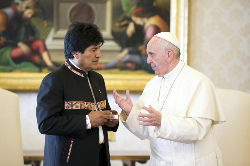 Pope Francis talks with Bolivia's President Evo Morales during a meeting at the Vatican April 15. (CNS photo/Alessandra Tarantino, pool via Reuters)