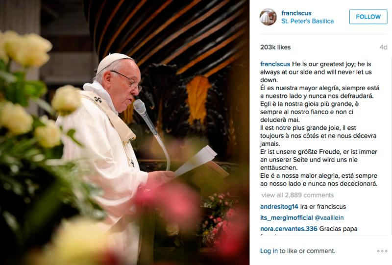 "Pope Francis joined the photo-sharing site Instagram March 19 using the account ""Franciscus."" As of April 1 the pope had more than 2 million followers. This is a screen capture of a post on his page. (CNS photo)"