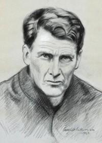Jesuit Father John Sullivan is seen in this drawing by Irish portrait artist Sean O'Sullivan. (CNS photo/courtesy Irish Jesuit Communications)