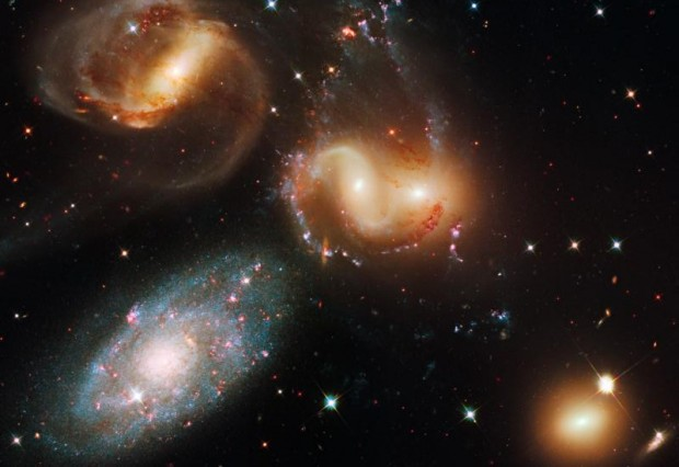 Stephan's Quintet, a compact group of five galaxies 280 million light years from Earth, is seen in this image from the Hubble Space Telescope. Courses being developed at U.S. seminaries are exploring connections between science and religion so clergy and lay ministers can better address scientific topics with parishioners. (CNS photo/courtesy of NASA)