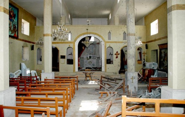The interior view taken in 2013 shows the damage of St. Sarkis church in Homs, Syria. (CNS photo/EPA)