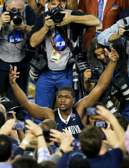 Villanova Wildcats forward Kris Jenkins (2) reacts after the 77-74 win over the North Carolina Tar Heels April 4 in the championship game of the 2016 NCAA Men's Final Four in Houston. Jenkins is a 2013 graduate of Gonzaga College High School in Washington. (CNS photo/Troy Taormina-USA TODAY Sports via Reuters)
