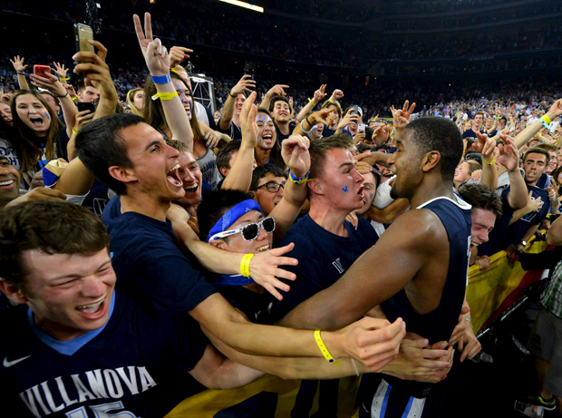 Villanova Wildcats forward Kris Jenkins (2) celebrates with the student section April 4 after defeating the North Carolina Tar Heels 77-74 in the championship game of the 2016 NCAA Men's Final Four in Houston. (CNS photo/Robert Deutsch-USA TODAY Sports via Reuters)