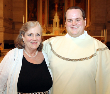 Mark Cavara poses with his mother,  Noreen Cavara, after his 2015 ordination as a transitional deacon at St. Charles Borromeo Seminary. (Sarah Webb)