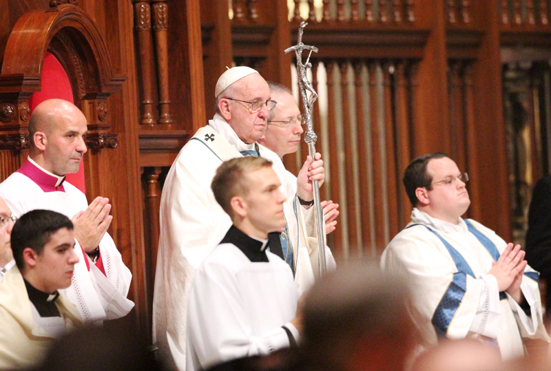 Rev. Mr. Mark Cavara, right, will never forget his proximity to Pope Francis during his visit to the Cathedral Basilica of SS. Peter and Paul on Sept. 26, 2015 in Philadelphia. (Sarah Webb)