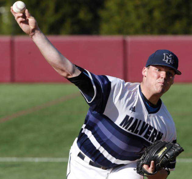 Malvern Prep's junior pitcher Shane Muntz fires to the plate.