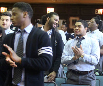 West Catholic Preparatory students applaud the news of the Mazurs' $5 million gift to the archdiocesan Catholic high school. (Sarah Webb)