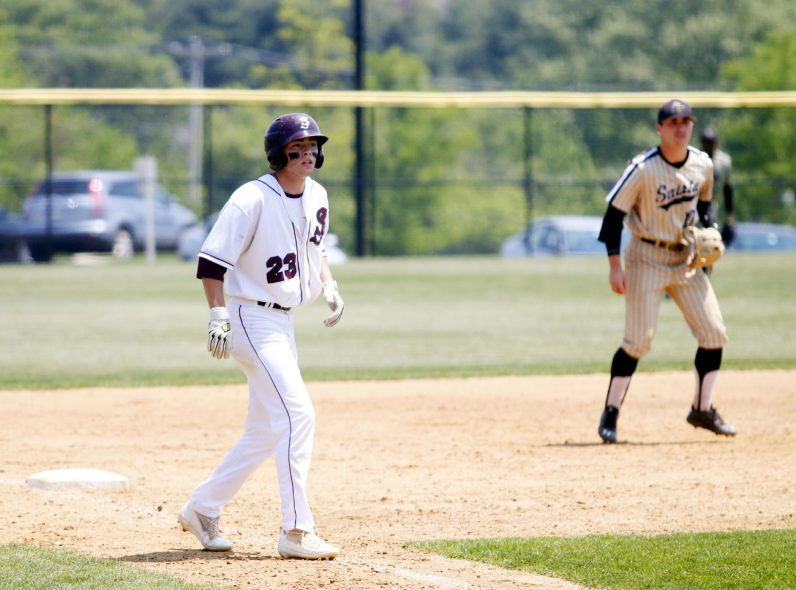St. Joe's Prep's Keith Flaherty is ready at third to come home.